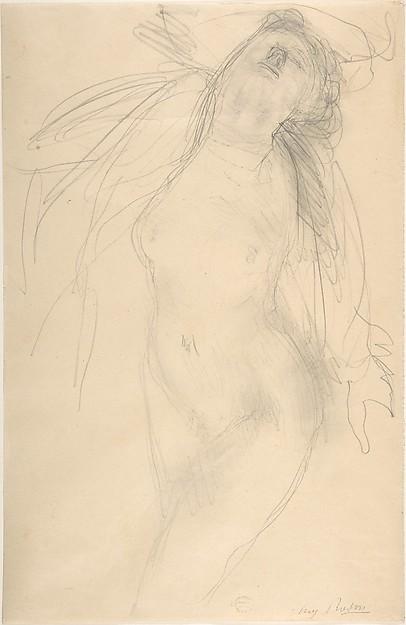 Nude female figure reclining on side