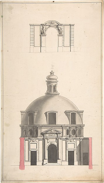 Fascinating Historical Picture of Jacques Franois Blondel with Elevation of the Amphitheatre and Entrance Gate of the Collge des Chirugies Paris in 1752
