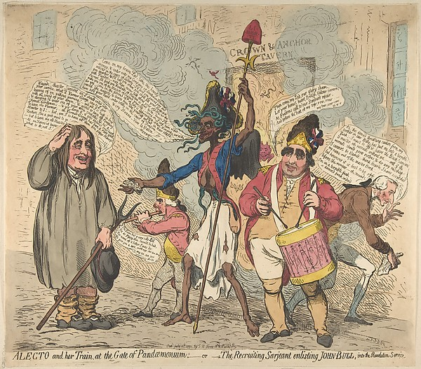 Fascinating Historical Picture of James Gillray with Alecto and Her Train at the Gate of Pandaemonium|orThe Recruiting Sarjeant Enlistin on 7/4/1791