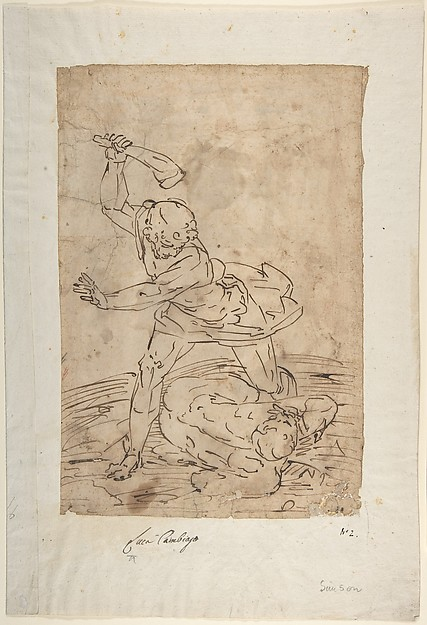 Study of Two Male Figures Fighting.