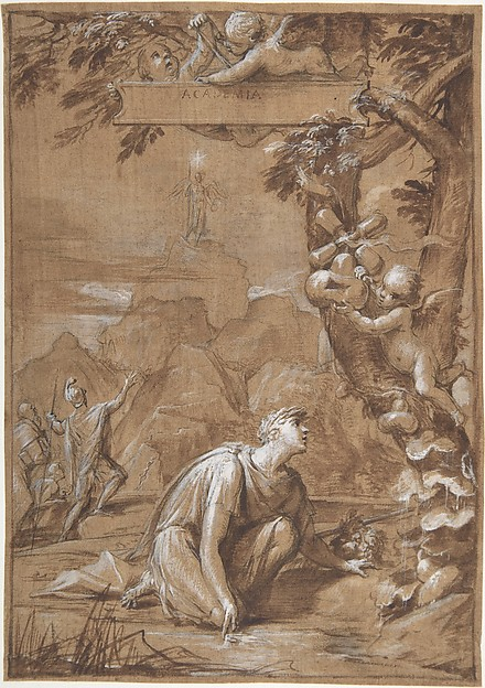 Allegorical Composition with a Young Man Kneeling before a Tree