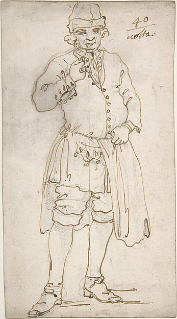 Man Smoking a Pipe (recto); Standing Man and Two Studies of His Head (verso)