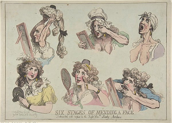 Fascinating Historical Picture of Thomas Rowlandson with Six Stages of Mending a Face Dedicated with respect to the Right Hon-ble. Lady Archer on 5/29/1792