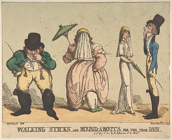 Fascinating Historical Picture of Thomas Rowlandson with Walking Sticks and Round-A-Bouts for the Year 1801 on 5/8/1801