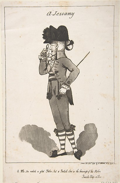Fascinating Historical Picture of George Moutard Woodward with A Jessamy on 12/1/1790