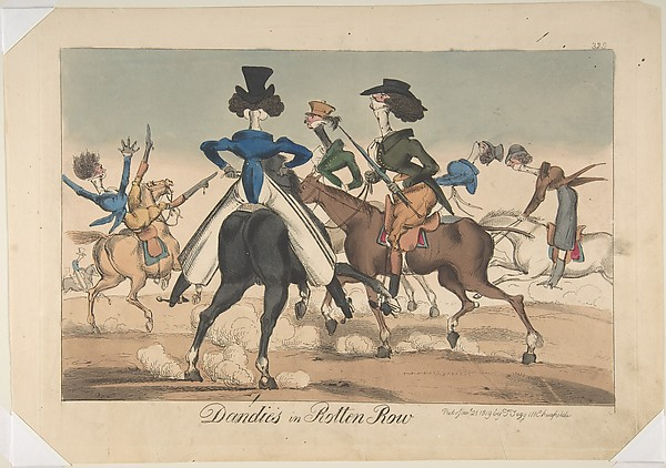 Fascinating Historical Picture of William Heath with Dandies in Rotten Row on 1/21/1819