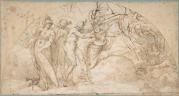 Perseus Beheading Medusa (recto); Studies of a Child and Ornament Sketches (verso)