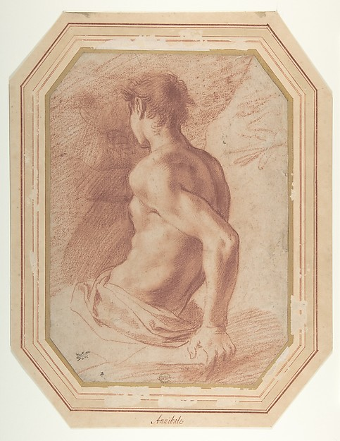 Back View of a Seated Nude Youth Facing Left