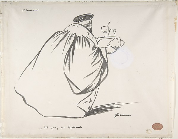 The Barman:  The Colonel's Drink. Caricature of Criminal Court Judge, Alphonse Bard