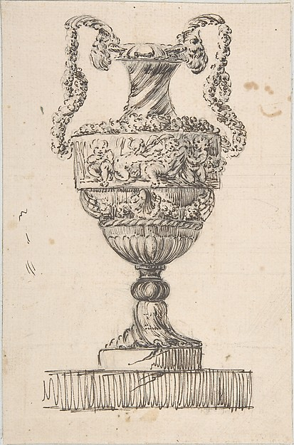 Fascinating Historical Picture of Jacques Franois Joseph Saly with Design for a Vase (recto); Sketch of Small Vase (verso) in 1752