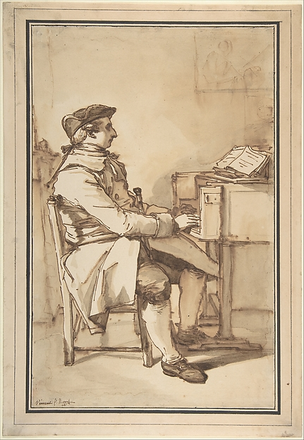 Man Seated at a Keyboard Instrument