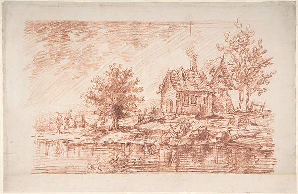 Farm House along a River, two figures at left