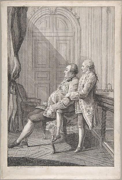 Fascinating Historical Picture of Louis de Carmontelle with Portrait of Louis-Philippe Duc dOrleans and His Son Louis-Phillipe Joseph Duc de Chartres in 1759