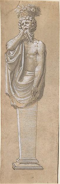 Bearded Male Term with a Raised Left Arm