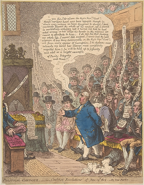 Fascinating Historical Picture of James Gillray with Political-Candour; i.e.Coalition-Resolutions of June 14th 1805.Pro bono Pub on 6/21/1805