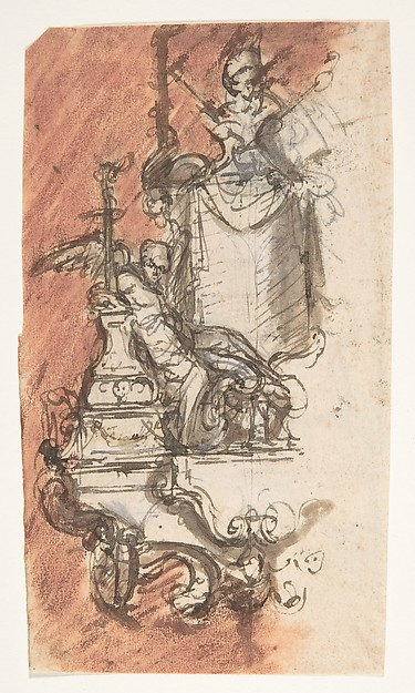 Design for a sepulchral monument with a portrait bust; verso: Design for a reliquary (?)