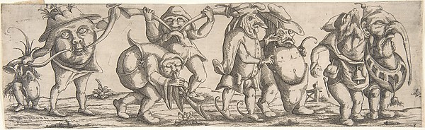 Fascinating Historical Picture of Younger with Procession of Monstrous Figures in 1615