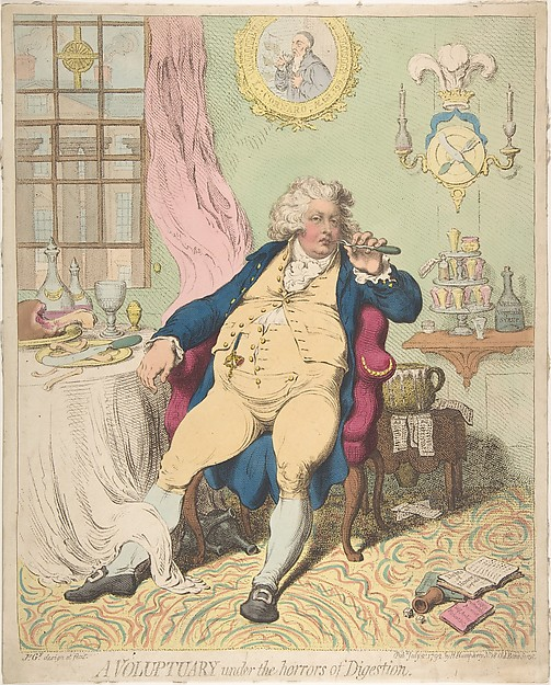 Fascinating Historical Picture of James Gillray with A Voluptuary Under the Horrors of Digestion on 7/2/1792