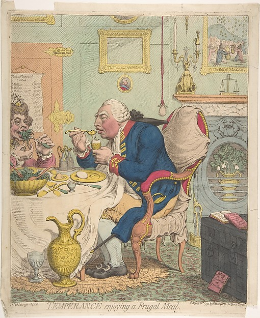 Fascinating Historical Picture of James Gillray with Temperance Enjoying a Frugal Meal on 7/28/1792