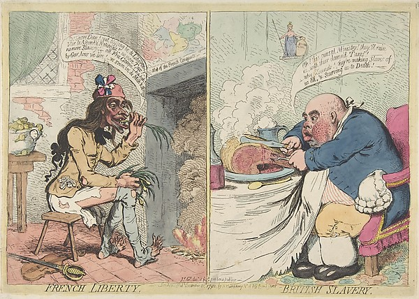 Fascinating Historical Picture of James Gillray with French Liberty. British Slavery on 12/21/1792