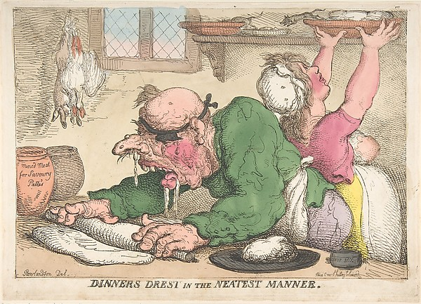 Fascinating Historical Picture of Thomas Rowlandson with Dinners Drest in the Neatest Manner on 10/15/1811