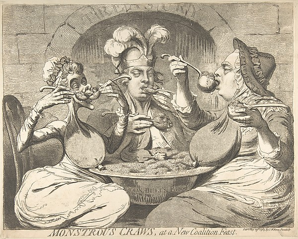 Fascinating Historical Picture of James Gillray with Monstrous Craws at a New Coalition Feast on 5/29/1787