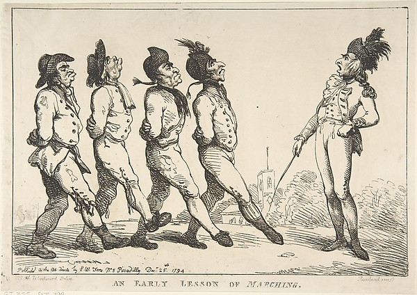 Fascinating Historical Picture of Thomas Rowlandson with An Early Lesson of Marching on 12/24/1794