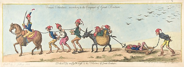 Fascinating Historical Picture of James Gillray with French Volunteers Marching to the Conquest of Great Britain on 10/25/1803