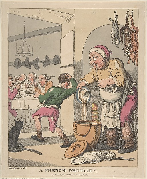 Fascinating Historical Picture of Thomas Rowlandson with A French Ordinary on 1/2/1804