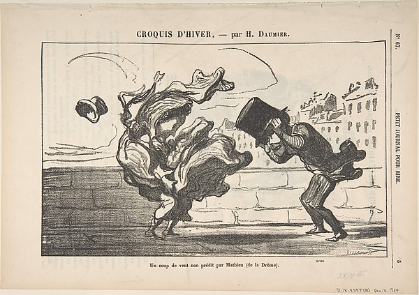 Fascinating Historical Picture of Honor Daumier with Un Coup de Vent non Prdit par Mathieu (de la Drme) Plate 1 of Croquis dHiver published in on 12/3/1864