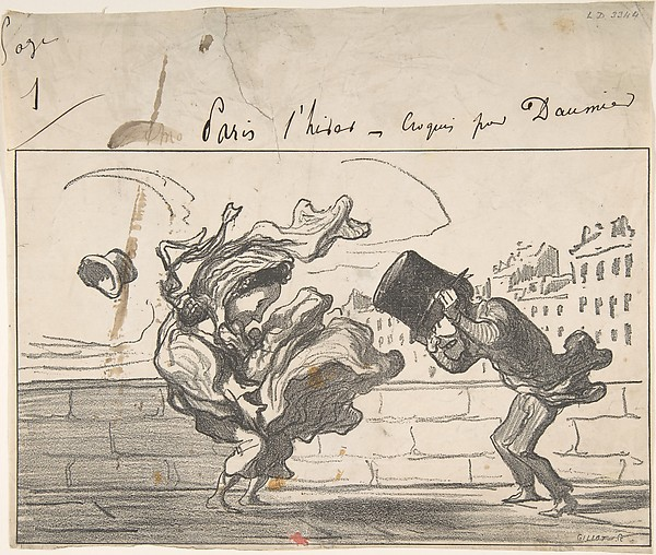 Fascinating Historical Picture of Honor Daumier with Un Coup de Vent non Prdit par Mathieu (de la Drme) Plate 1 of Croquis dHiver on 12/3/1864