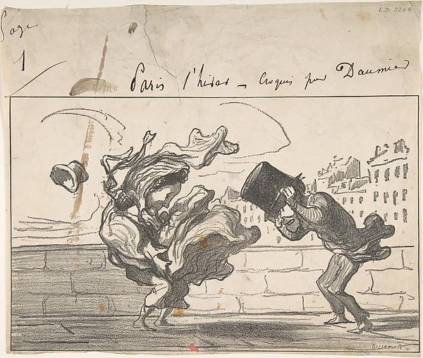 This is What Honor Daumier and Un Coup de Vent non Prdit par Mathieu (de la Drme) Plate 1 of Croquis dHiver Looked Like  on 12/3/1864