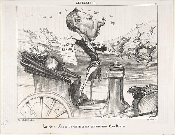 Fascinating Historical Picture of Honor Daumier with Arrive en Alsace du commissaire extraordinaire Coco Romieu published in Le Charivari on 2/28/1850