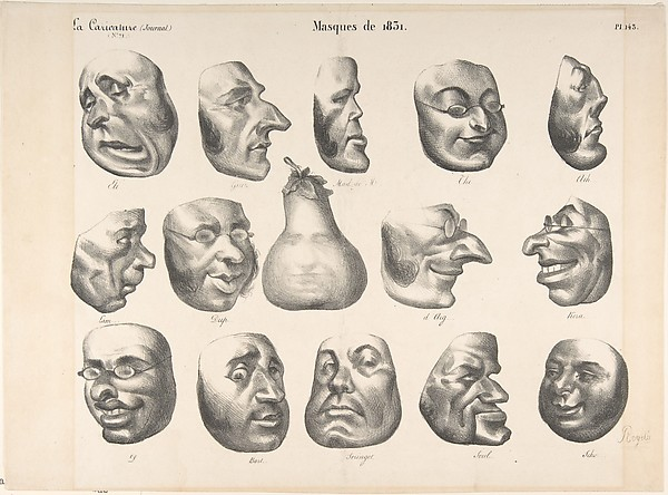 Fascinating Historical Picture of Honor Daumier with Masks of 1831 published in La Caricature on 3/8/1832