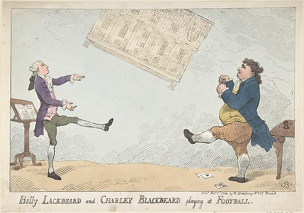 Fascinating Historical Picture of Thomas Rowlandson with Billy Lackbeard and Charley Blackbeard playing at Football on 2/7/1784