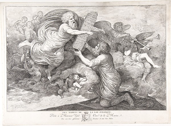 Fascinating Historical Picture of Simon Julien with Moses on Sinai (Le tables de Loi judaique) in 1773