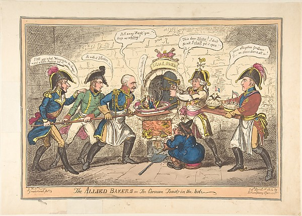Fascinating Historical Picture of George Cruikshank with The Allied Bakers or the Corsican Toad in the Hole on 4/1/1814