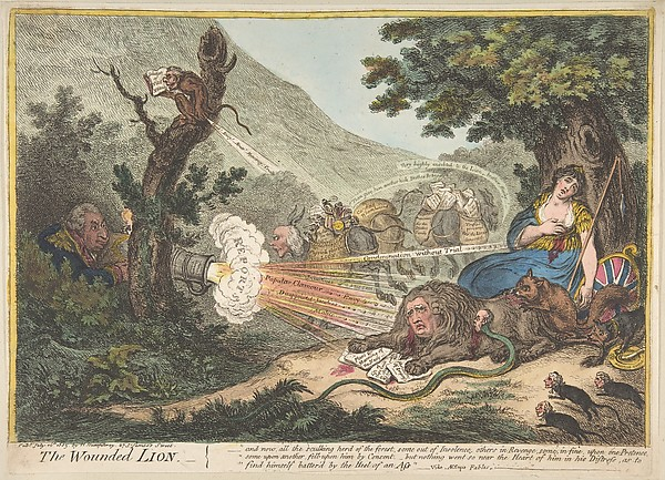 This is What James Gillray and The Wounded Lion Looked Like  on 7/16/1805