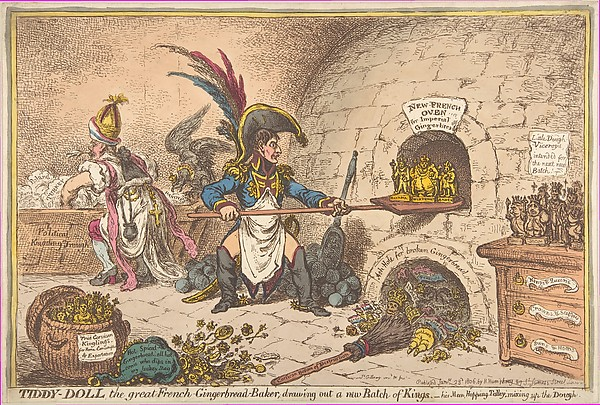 Fascinating Historical Picture of James Gillray with Tiddy-Doll the Great French-Gingerbread-Baker; Drawing Out a New Batch of Kings His Man Hopping Ta on 1/23/1806