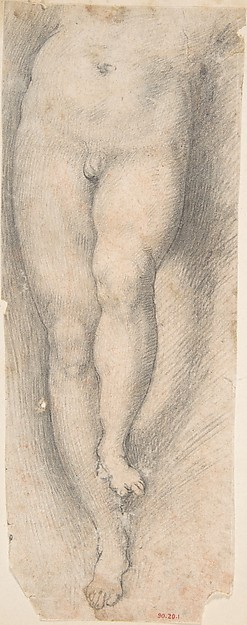 Study for Lower Part of Torso and Legs of a Young Boy, a Copy After the figure of Christ in Parmigianino's Vision of Saint Jerome