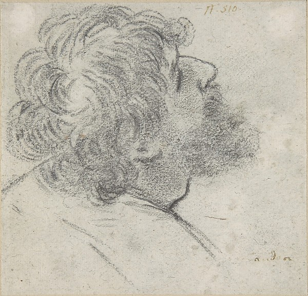 Head of a Bearded Man Looking to Upper Right (recto); Head of an Old Man and a Drapery Study (verso)