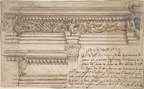 Fascinating Historical Picture of Giovanni Andrea Castelli with Design for Painted Corner and Frieze of the Choir in the Church of the Servi in Bologna. on 12/11/1629