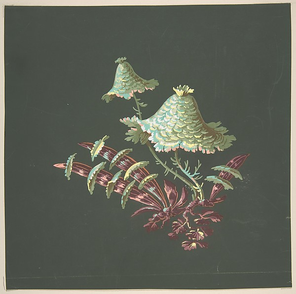 Two Hat-Shaped Chinoiserie Flowers with Fanciful Leaves