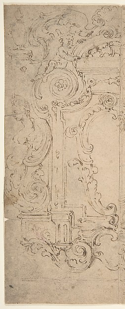 This is What Michelangelo Colonna and Two Alternatives Designs for a Cartouche Decorated with a Frame Statues and Volutes. Looked Like  in 1604
