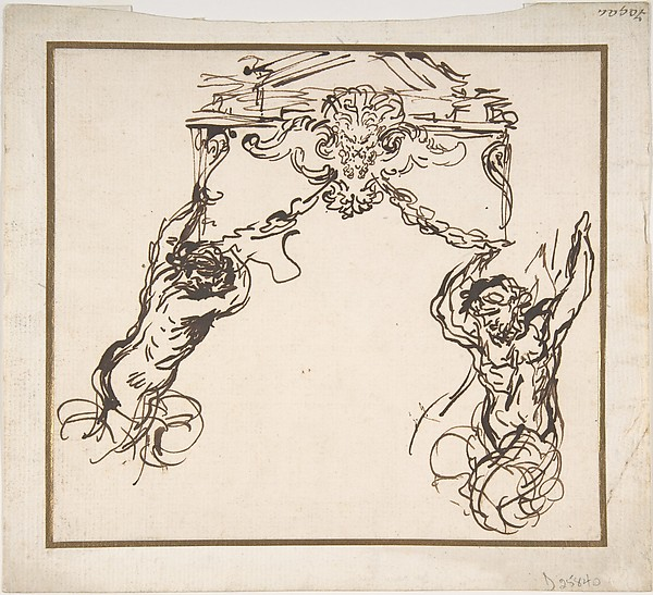 Fascinating Historical Picture of Pietro da Cortona with Satyrs Supporting an Ornamental Motif in 1596
