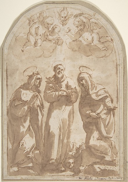 Fascinating Historical Picture of Pietro Damini with Saint Louis of France Saint Francis and a Female Monastic Saint in 1592