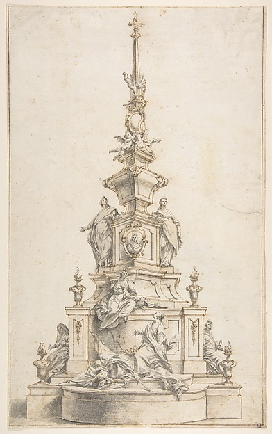 Fascinating Historical Picture of Ignaz Gnther with Design for a Funerary Monument in 1710