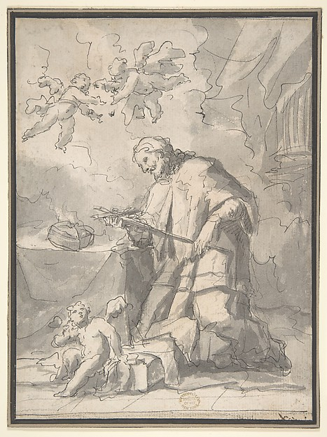 Saint John Nepomucen Venerating a Crucifix