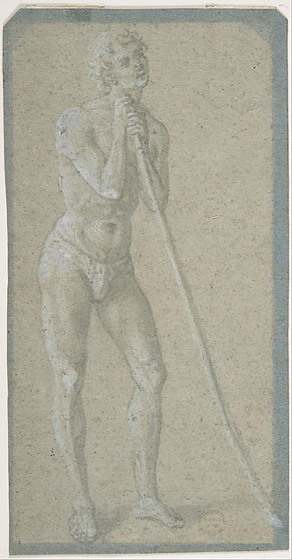 Standing Youth Leaning on a Long Staff (recto); Seated Man (verso)