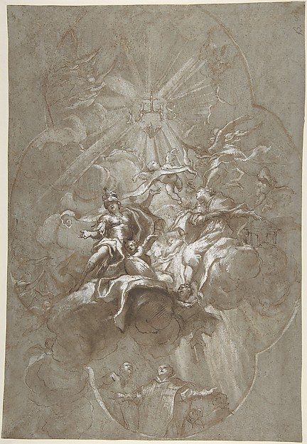 Ceiling Design with the Glorification of the Name of Jesus (recto); Aurora and Cephalus (verso)